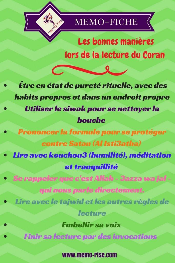 Les bonnes manières à adopter lors de la lecture du Coran.